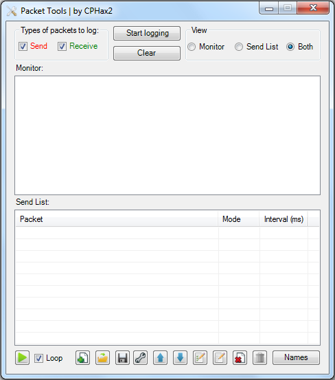 Packet Tools interface
